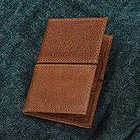 Leather passport wallet, 'Sleek Style in Brown' - Handcrafted Leather Passport Wallet in Brown from Mexico