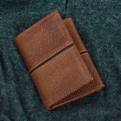 Leather wallet, 'Sleek Design in Brown' - Artisan Crafted Leather Wallet in Brown from Mexico