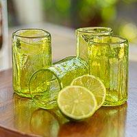 Recycled glass tequila glasses, 'Green Mezcaleros' (set of 4) - Recycled Glass Tequila Glasses from Mexico (Set of 4)