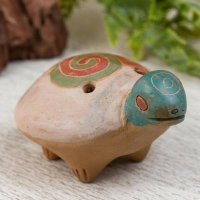 Ceramic ocarina, 'Windy Turtle' - Handcrafted Ceramic Turtle Ocarina from Mexico