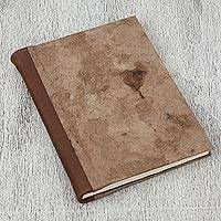 Leather accented recycled paper journal, 'Cherished Memories' - Leather Accent Recycled Paper Journal in Brown from Mexico