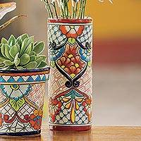 Ceramic vase, 'A Floral Day' - Hand-Painted Floral Talavera Ceramic Vase from Mexico