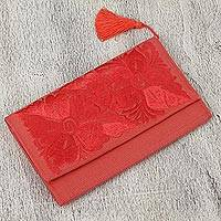 Cotton clutch, 'Strawberry Bouquet' - Cotton Clutch with Strawberry Floral Embroidery from Mexico