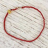 Gold accented amber macrame pendant bracelet, 'Nautical Beauty' - Gold Accented Amber Macrame Pendant Bracelet from Mexico