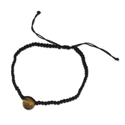 Amber Macrame Pendant Bracelet in Black from Mexico