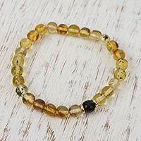Gold accented amber and agate beaded stretch bracelet, 'Sunset Dance' - 14k Gold Accent Amber and Agate Stretch Bracelet