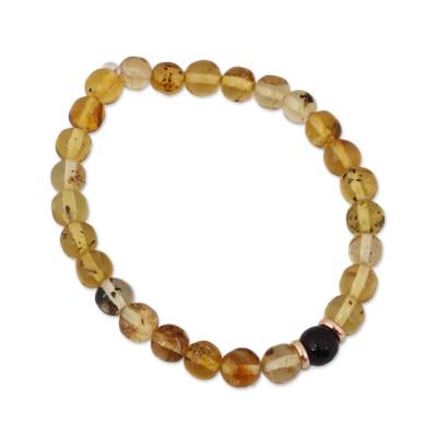 14k Gold Accent Amber and Agate Stretch Bracelet