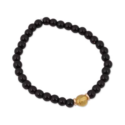 Amber and Onyx Beaded Stretch Bracelet with 14k Gold Accents