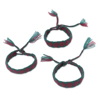 Cotton Wristband Bracelets in Maroon from Mexico (Set of 3)
