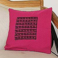 Cotton cushion cover, 'Lovely Magenta' - Handwoven Cotton Cushion Cover in Magenta from Mexico