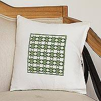 Cotton cushion cover, 'Tantalizing Geometry' - Geometric Cotton Cushion Cover in Avocado and White