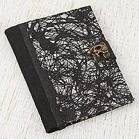 Leather accented recycled paper journal, 'Garden of Mysteries' - Handmade Recycled Paper Journal in Black from Mexico
