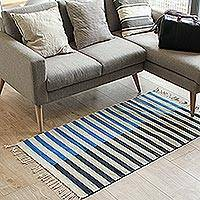 Wool area rug, 'Blue Bars' (2.5x5) - Striped Zapotec Wool Area Rug from Mexico (2.5x5)