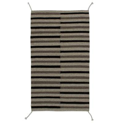 Handwoven Striped Wool Area Rug from Mexico (2x3)
