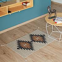 Zapotec wool area rug, 'Diamond World' (2x3) - Geometric Zapotec Wool Area Rug from Mexico (2x3)