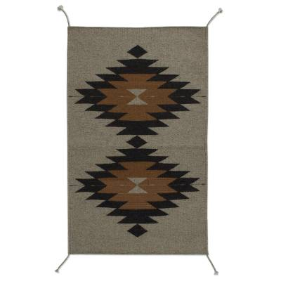 Geometric Zapotec Wool Area Rug from Mexico (2x3)