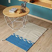 Wool area rug, 'Under the Sea' (2x3) - Wool Area Rug in Azure and Khaki from Mexico (2x3)