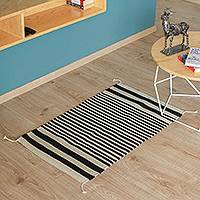 Zapotec wool area rug, 'Lines of Time' (2x3) - Wool Area Rug with Ivory and Ebony Stripes from Mexico (2x3)