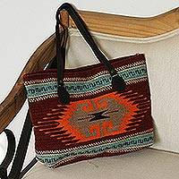 Leather accented wool tote, 'Greca Tradition' - Greca Motif Leather Accented Wool Tote from Mexico