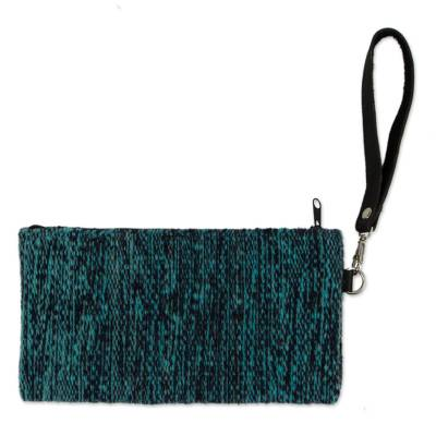 Leather Accented Wool Wristlet in Navy and Aqua