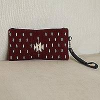 Leather accented wool wristlet, 'Sweet Geometry in Burgundy' - Handwoven Leather Accented Wool Wristlet in Burgundy