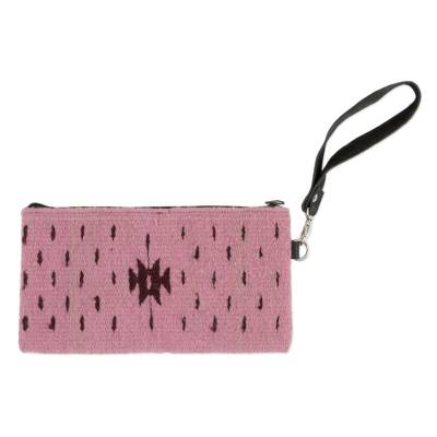 Handwoven Leather Accented Wool Wristlet in Dusty Rose