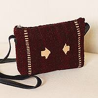 Leather accent wool sling, 'Arrow Guide' - Leather Accent Wool Sling in Brown from Mexico
