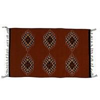 Wool area rug, 'Maroon Geometry' (2x3) - Handwoven Geometric Wool Area Rug from Mexico (2x3)