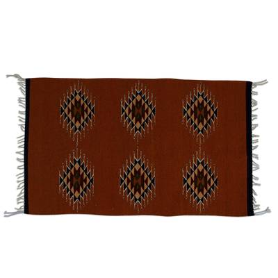 Handwoven Geometric Wool Area Rug from Mexico (2x3)