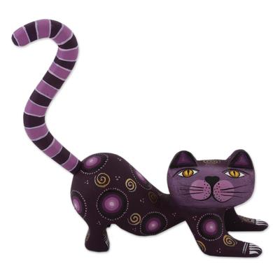 Handcrafted Purple Wood Alebrije Playful Cat Figurine
