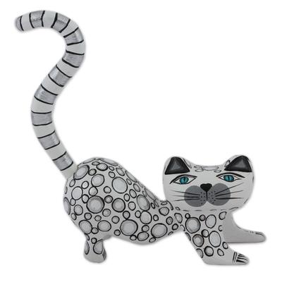 Handcrafted White Wood Alebrije Playful Cat Figurine