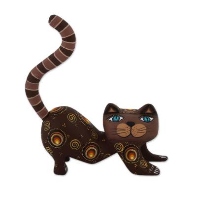 Handcrafted Brown Wood Alebrije Playful Cat Figurine