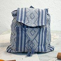 Cotton backpack, 'Charming Traveler' - Handwoven Cotton Backpack in Cadet Blue and Grey from Mexico