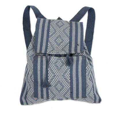 Handwoven Cotton Backpack in Cadet Blue and Grey from Mexico