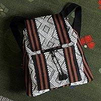 Cotton backpack, 'Of the Earth' - Handwoven Geometric Cotton Backpack from Mexico