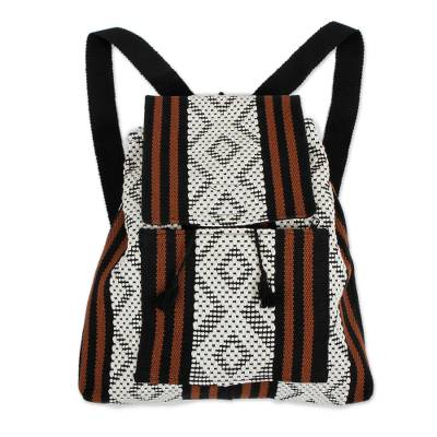 Handwoven Geometric Cotton Backpack from Mexico