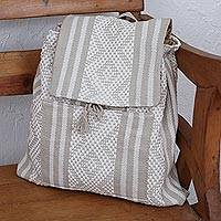 Cotton backpack, 'Geometric Shadow' - Cotton Backpack in Eggshell and Light Taupe from Mexico