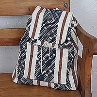 Cotton backpack, 'Ancient Sky' - Cotton Backpack with Midnight Geometric Patterns from Mexico