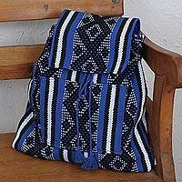 Cotton backpack, 'Geometric Royalty' - Handwoven Cotton Backpack in Royal Blue from Mexico