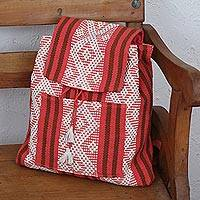 Cotton backpack, 'Sweet Traveler' - Handwoven Cotton Backpack in Deep Rose from Mexico