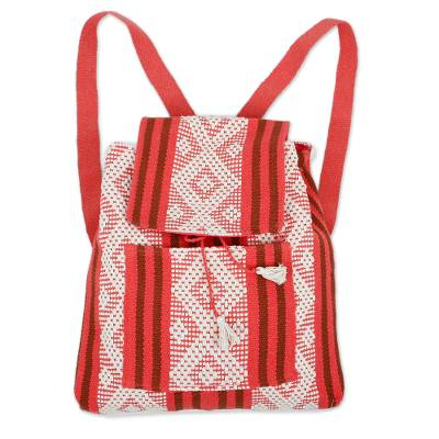 Handwoven Cotton Backpack in Deep Rose from Mexico