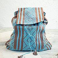 Cotton backpack, 'Hopeful Sky' - Handwoven Cotton Backpack in Sky Blue and Nutmeg from Mexico