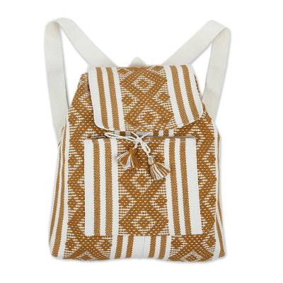 Handwoven Cotton Backpack in Tan and Bone from Mexico
