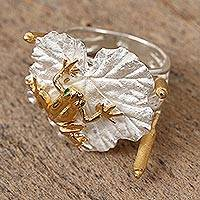Gold accented sterling silver cocktail ring, 'Frog on a Leaf' - Gold Accented Sterling Silver Frog Cocktail Ring from Mexico