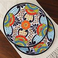 Ceramic dinner plates, 'Rain of Flowers' (pair) - Talavera Ceramic Dinner Plates from Mexico (Pair)