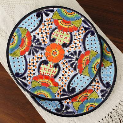 Ceramic dinner plates, 'Raining Flowers' (pair) - Talavera Ceramic Dinner Plates from Mexico (Pair)