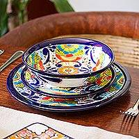 Ceramic dessert plates, 'Raining Flowers' (pair) - Talavera Ceramic Dessert Plates from Mexico (Pair)