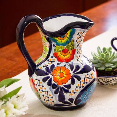 Ceramic pitcher, 'Raining Flowers' - Hand-Painted Talavera Style Ceramic Pitcher from Mexico
