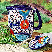 Ceramic coffee pot, 'Raining Flowers' - Hand-Painted Talavera Style Ceramic Coffee Pot from Mexico