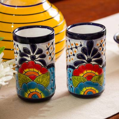 Ceramic tumblers, Raining Flowers (pair)